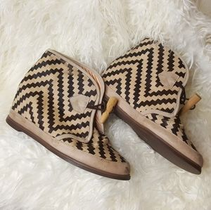 Eliotte hair hide geometric print ankle boot